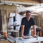 Furniture Designer-Maker Sam Walsh in studio E01, Elliot Hut ©Kirstin Prisk Photography