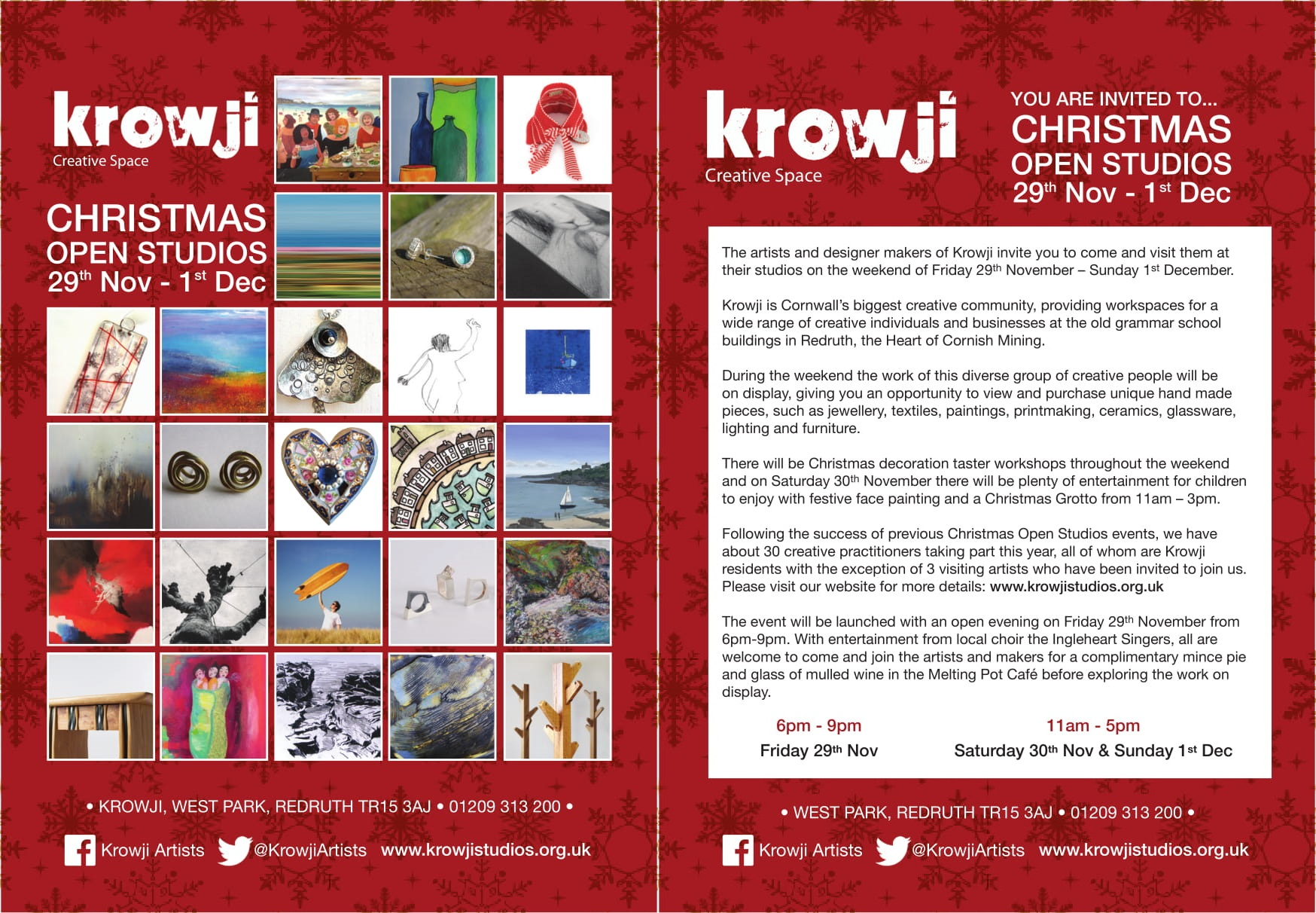 Krowji Christmas Open Studios 2013 Flyer