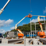 First pieces of steel frame going up, August 2014 ©Kirstin Prisk Photography