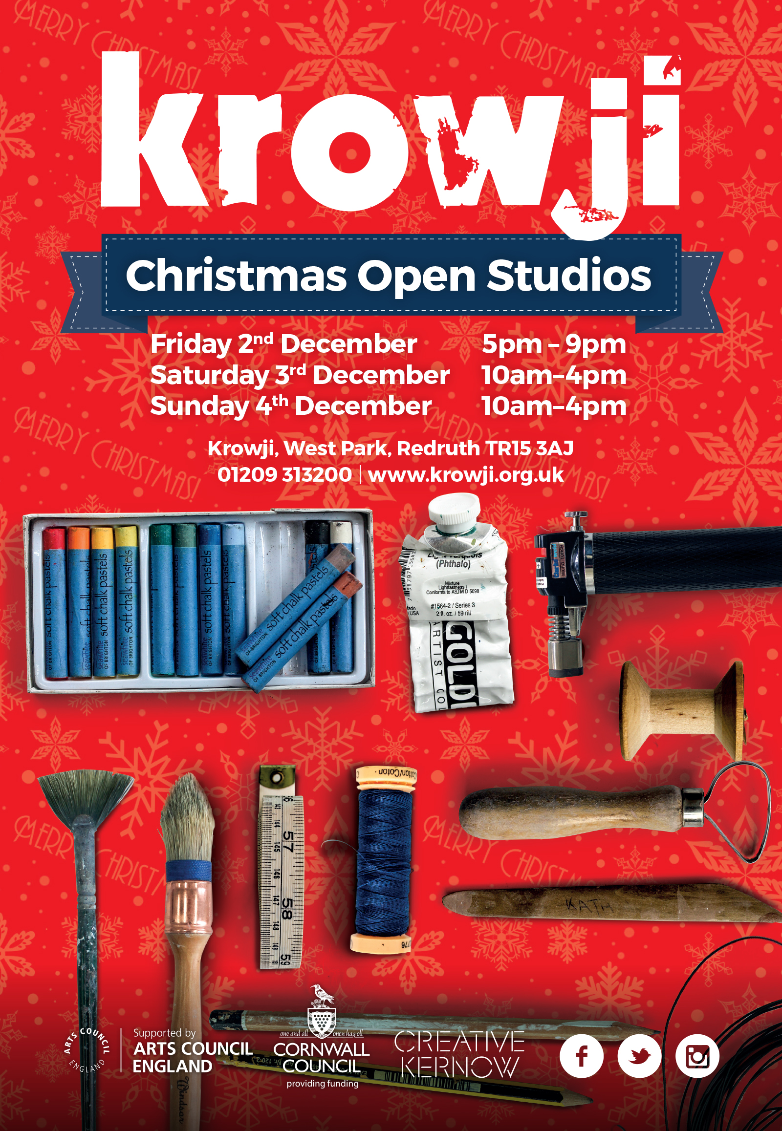 Krowji Christmas Open Studios Poster light