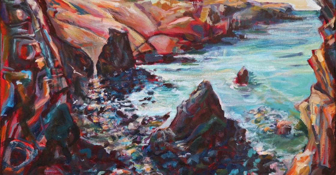 Morning at Cligga Cove Acrylic on Canvas 40 x 55 cm