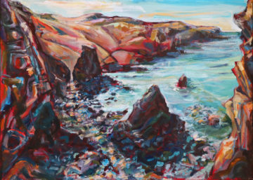 Morning at Cligga Cove Acrylic on Canvas 40 x 55 cm