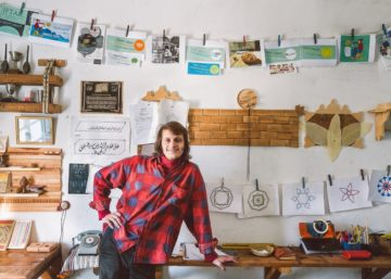 Hamza in his studio in Fes, Morocco
