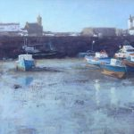 Andrew Barrowman, Waiting For the Tide Porthleven, oil on ply panel