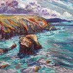 Tony Minnion 'Gullyn Rock, North Cliffs', acrylic on paper